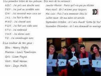 Une phrase avec les One Direction !