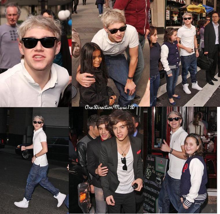"""Miranda Cosgrove et Niall Horan dans ICarly + Euuh il fond quoi Larry ? 0.o + Rappel + Vidéo - Les Boys de retour à leur hôtel hier soir +  Vidéo - Les Boys à l'avant première du Film """" Big Time Movie"""" des Big Time Rush +Dans les rues de New-York - 08-03-2012 +RIP à l'image parfaite qu'on se faisait de Niall. Eh, oui, ils sont comme nous (=tête de con les cheveux mouillés)"""