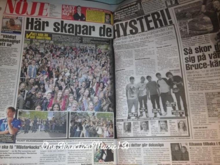 L'hystérie que les garçons ont provoqué hier, dans un journal Suédois + Les Boys hier ( 12 mais ) +  Les garçons sur le balcon - 12 mai + Baby Lux et son papa, hier + Video Diary, Pt. 6 (VEVO LIFT) + 1DFact + News / Rumeurs ... + Vidéo du DVD UP All Night Tour + 12.05.12 - Harry dans le studio à Stockholm + Vendredi ou Hier je ne sais plus. Une fan a montré ses seins à dans la foule, voilà la réaction de Zayn