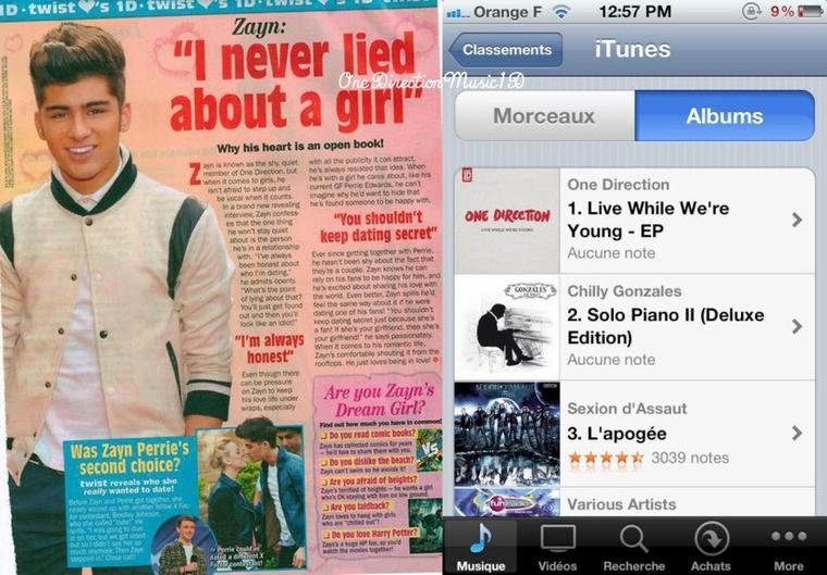 Des photos de cette semaine +  Durant une interview il y a quelques jours. +21.08 ; Londres + 23.08 ; Londres + Zayn dans le magazine Twist dmois + LWWY est #1 des pré-ventes en France ! Je pense que ça aidera beaucoup pour une prochaine venue en France + A l'intérieur d'un magasin 1D à Chicago + Le nouvelle bannière pour les VMA des garçons.  + #1DBigAnnouncement- the new single 'Live While We're Young' + LIEN : Vous pourrez pré-commander LWWY cette nuit à 1:00am heure française mais il faut changer son compte en compte anglais ou australien. + NEWS / RUMEURS / VIDEO ...