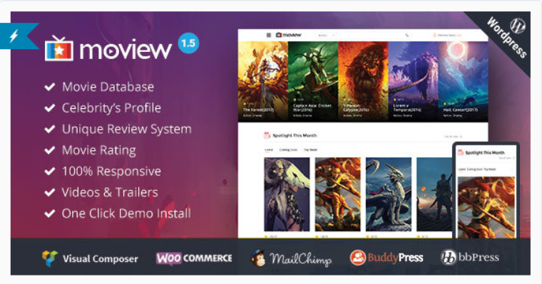 Moview - Film Responsive / vidéo DB & Review Theme et Films Wordpress Importateur en vrac