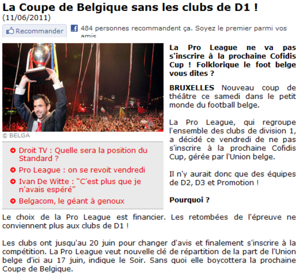 La folie du football Belge ...
