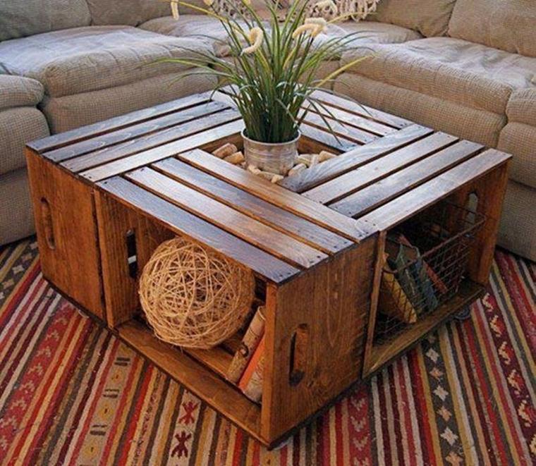 table de salon avec des caisses