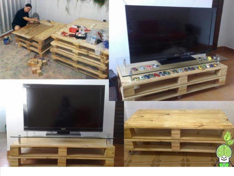 table de tv avec des palettes pour salon