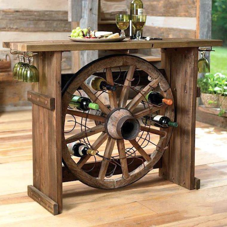 bar avec roue de chariot