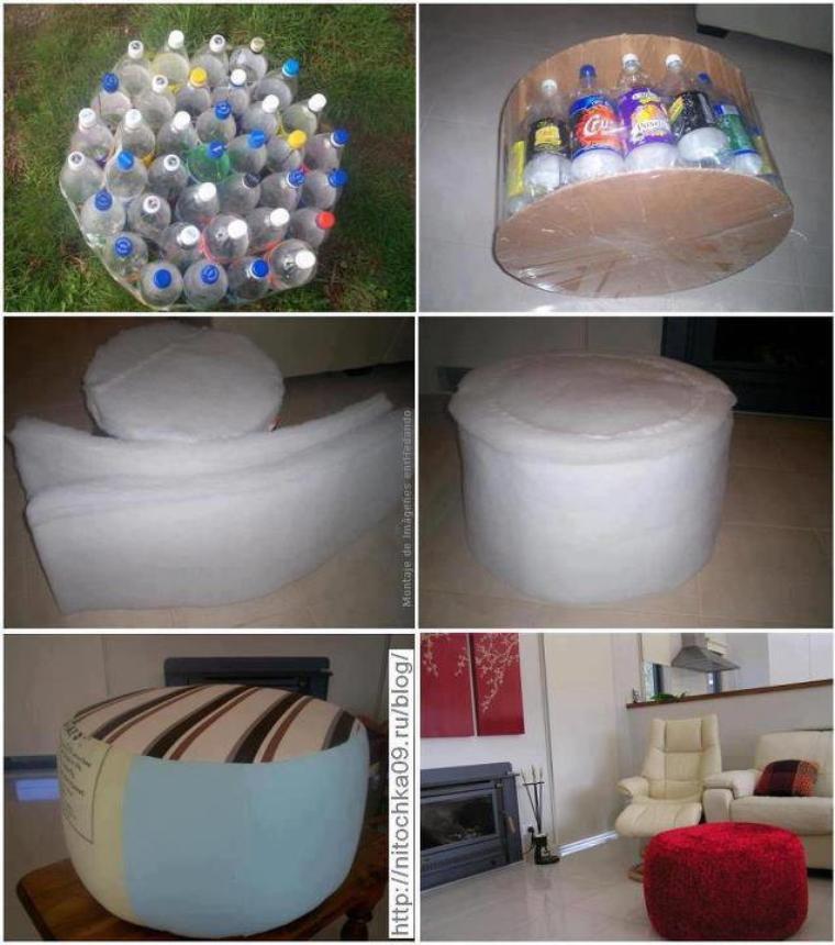 pouf avec des bouteilles d'eau