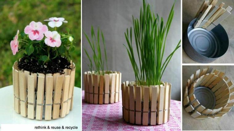 pots en pinces à linge ou herbes aromatiques