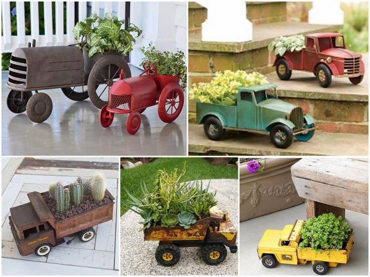 deco jouets anciens en pots de fleurs
