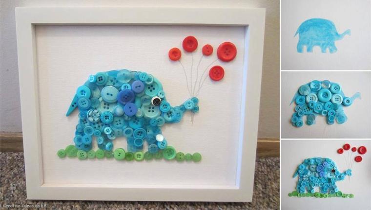 deco tableau elephant boutons bleus