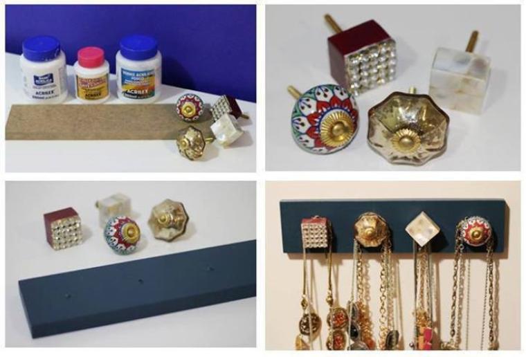 presentoir de bijoux en poignees de porte
