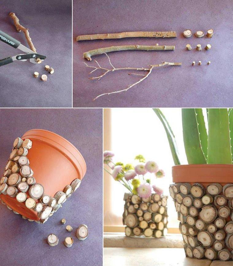 deco pot de fleurs en rondins de bois