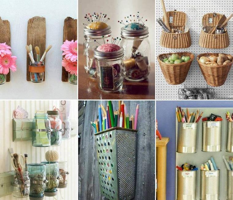 ustensiles de cuisine , de couture , de peinture , de bureau ...avec du bois , des conserves , des paniers, des conserves ...