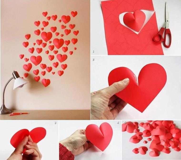 deco de coeurs en papier rouge