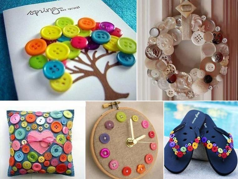 deco de boutons , coussin ,chaussure ,arbre , horloge, couronne ...