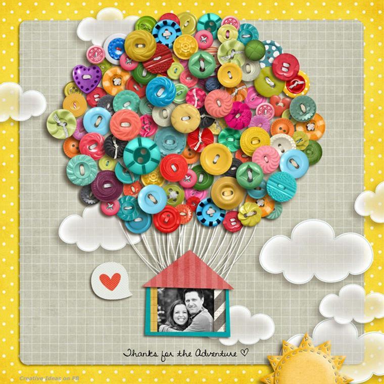 tableau montgolfière de boutons photo d'amoureux ou de famille
