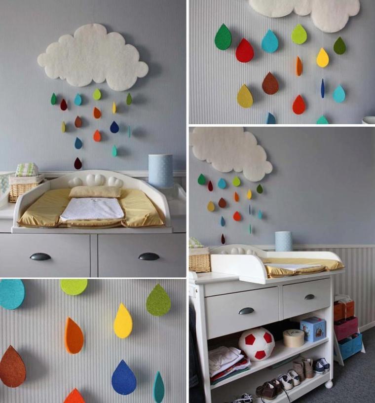nuage de pluie multicolore pour chambre de bébé