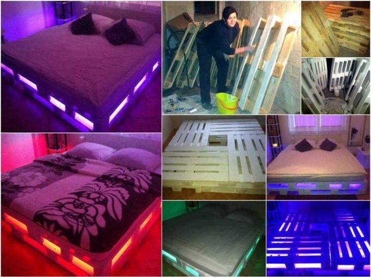 lits de couleurs avec des palettes