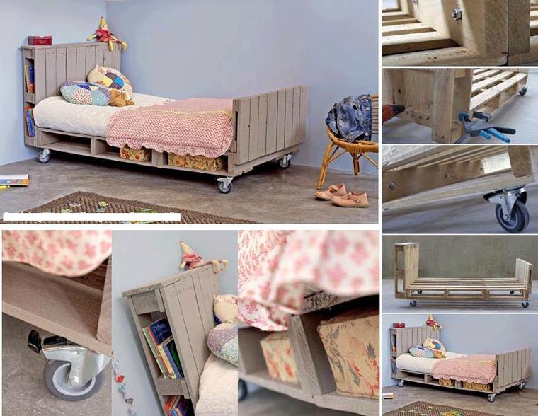 lit d'enfant avec des palettes roulant
