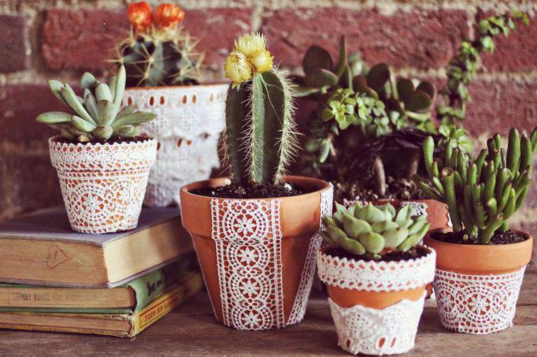 pots de fleurs deco napperons en dentelles