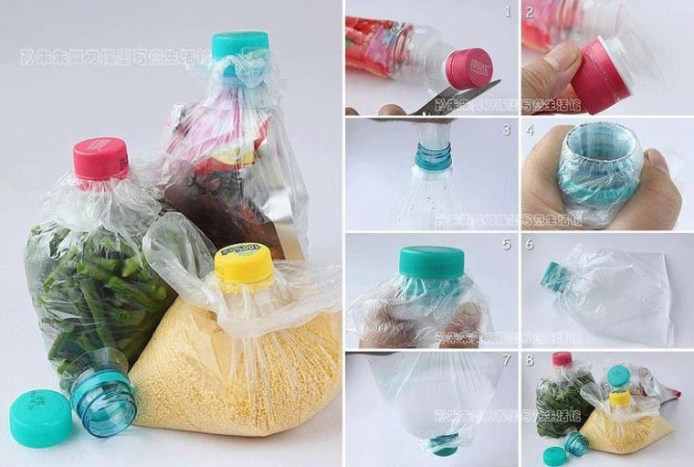 astuce pour conserver vos aliments au sec et à l'abri un sac et le bout d'une bouteille avec bouchon