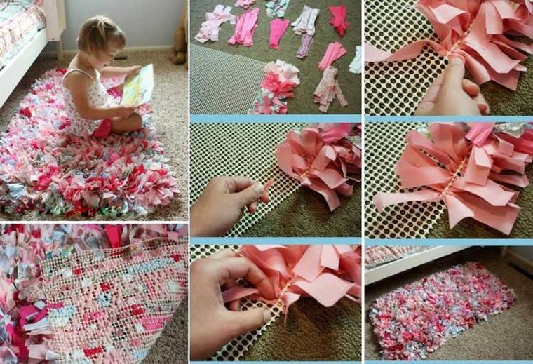 tapis pour chambre d'enfant avec des bouts de tissus
