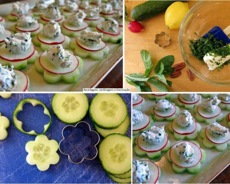 concombres en forme de fleurs, radis et sauce fromage blanc herbes