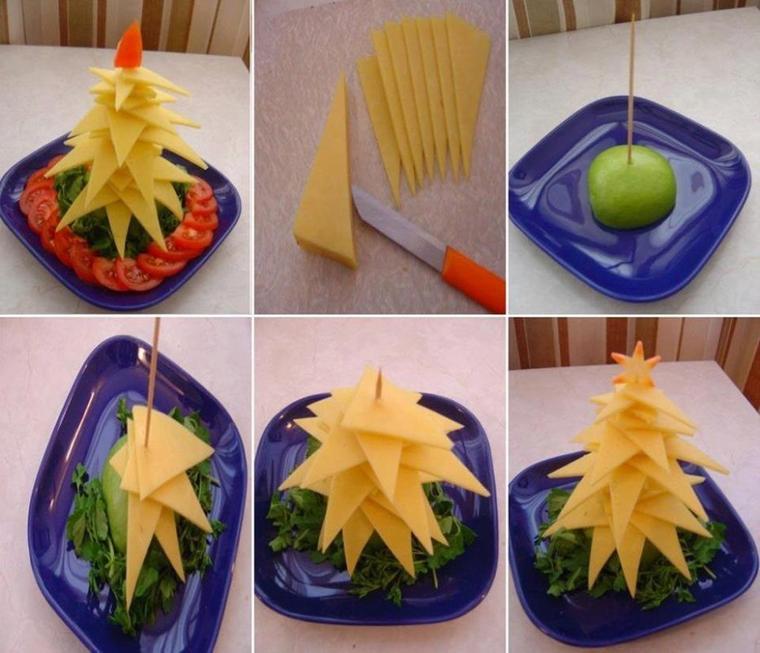 sapin de noel en fromage salade et tomate