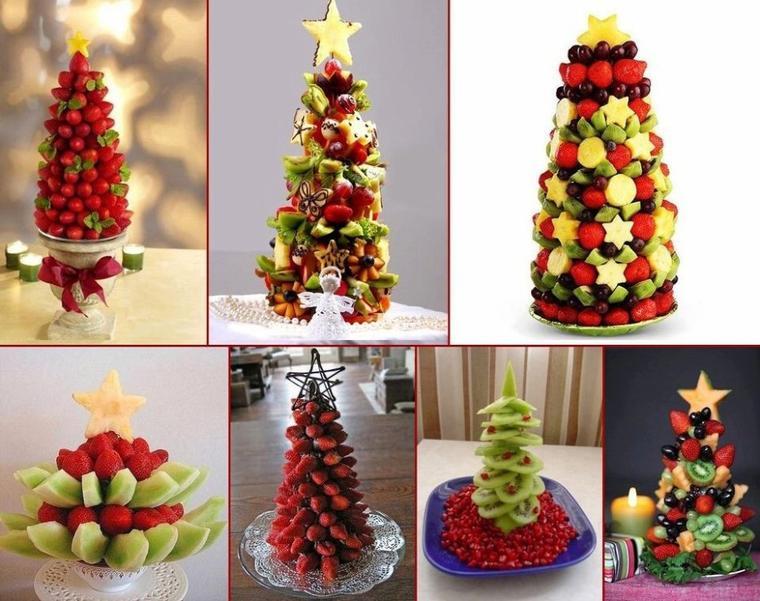 plusieurs modeles de sapins de noel en fruits frais