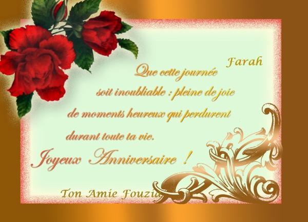 Joyeux Anniversaire Farah
