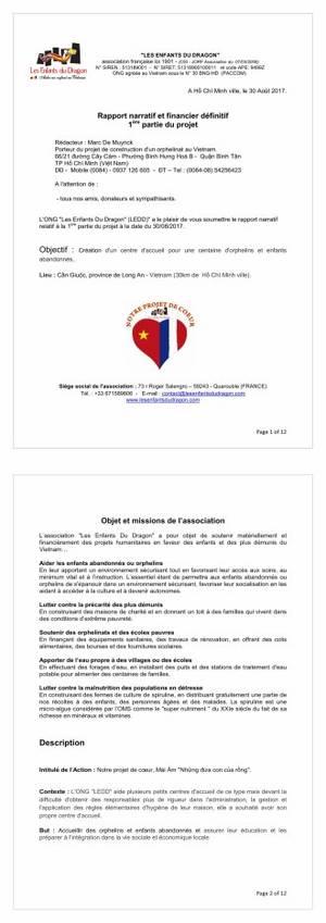 """Bilan réalisation 1ère partie du projet orphelinat """"LEDD"""""""