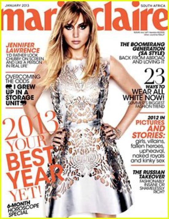Jennifer Lawrence Covers 'Marie Claire' South Africa January 2013