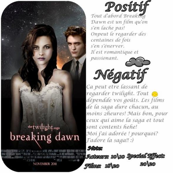Que pensez-vous de Twilight Breaking Dawn :)