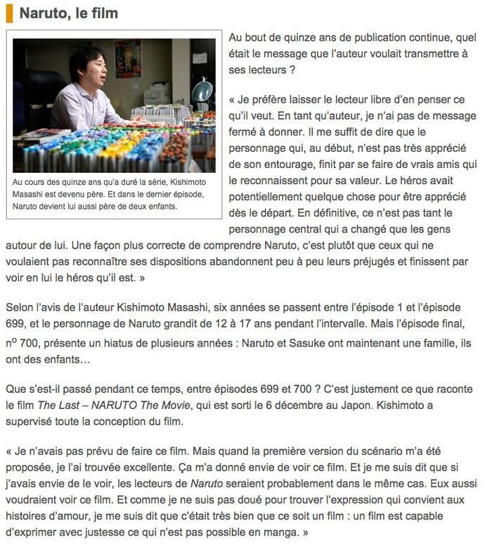 Interview Masashi Kishimoto 17 Novembre 2014
