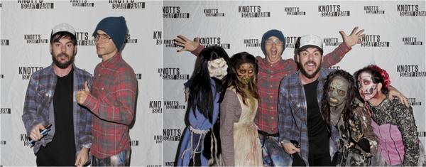 """16/10/2015 : Jared et son frère Shannon était sur le tapis rouge de """"Knott's Scary Farm """" à Buena Park en Californie"""