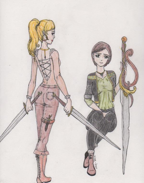 Dessin n°9: Guerrières? Combattantes? Des filles avec des épées.