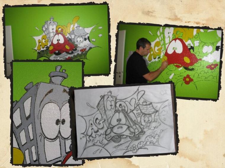 """Fresque humoristique réalisée dans la chambre d'un enfant...""""Agon"""" 3 ans..."""