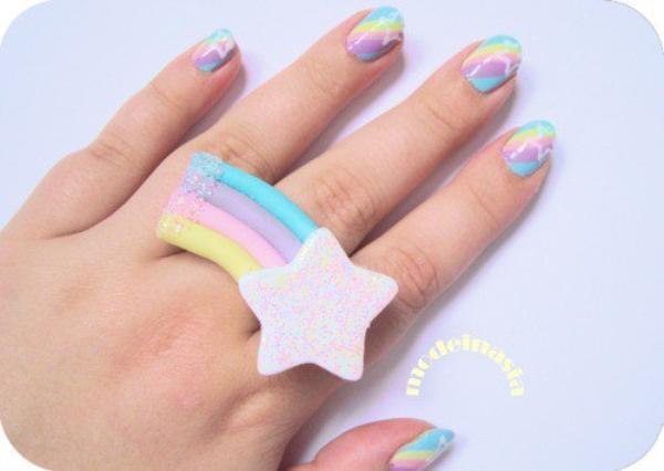 Nail art aux couleurs kawaii