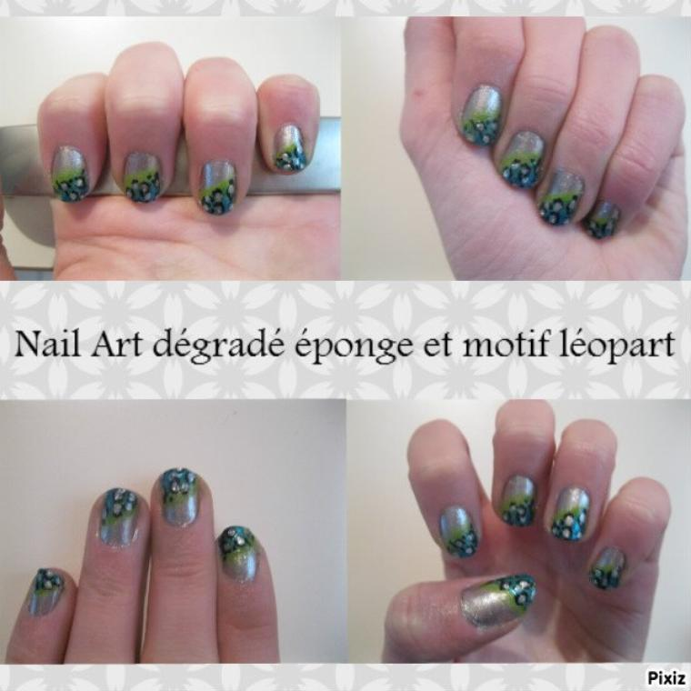 Nail Art dégradé éponde et motif léopard
