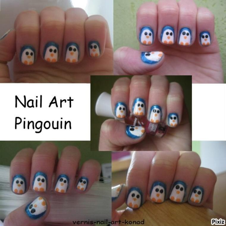 Nail Art Pingouin