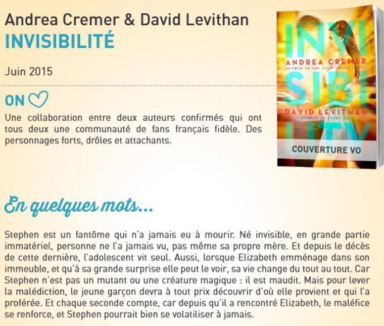 PRÉSENTATION : INVISIBILITÉ d'Andrea Cremer et  David Levithan