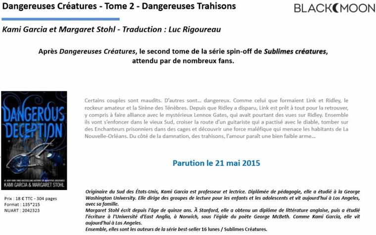 PROGRAMME DE PARUTIONS HACHETTE ROMANS - AVRIL MAI JUIN 2015