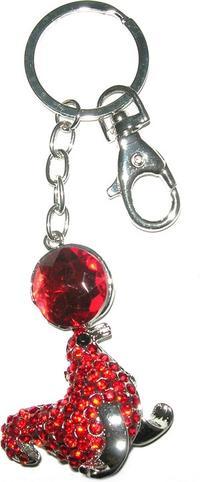 Bijou de sac à main porte clés otarie avec ballon coloris rouge.