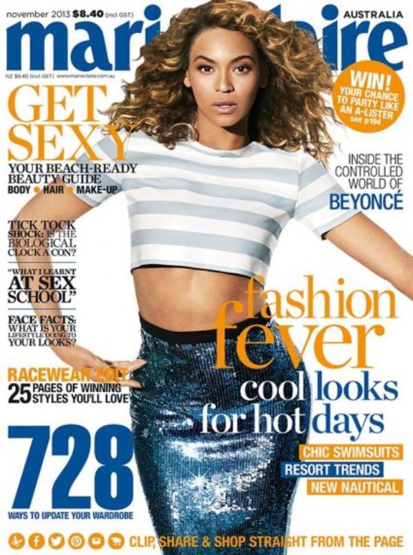 Beyonce au top en couverture de Marie Claire Australie du mois de Novembre
