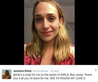 26/08/2016: Jemima tournait sa dernière scène pour la série Girls. Une page se tourne pour les membres du castings.