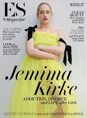 Jemima a donné une interview pour ES magazine elle y parle en gros de la fin de Girls, qu'elle n'est pas du genre sentimentale et que ça l'agaçait un peu de devoir prendre tout le monde dans les bras mais une fois revenue dans sa loge elle s'est rendu compte que c'était fini et elle a eu envie de pleurer donc elle a pris un selfie car la série a changer beaucoup de chose dans sa vie. Elle parle aussi de son divorce (c'est donc  officiel) elle dit que c'est dû au fait d'être actrice et de tout remettre en question à chaque personnages joué. Cela finit par empiéter sur la vie et elle c'est demandé si elle était vraiment heureuse ou si comme souvent elle se laissait juste porter par le flow. La rupture n'était pas dramatique ou tumultueuse, elle était lente mais ça reste triste. Elle explique ensuite que comme Lena elle n'a aucun problème avec la nudité mais au début de Girls elle ne voulait pas se montrer car elle était maman. Maintenant elle ne veut toujours pas que sa fille voit les scènes qu'elle tourne où elle est nue mais qu'il faudra plus tard qu'elle lui explique que ce n'est pas qu'une mère, qu'elle a un job et dans l'art il faut parfois se dénuder.