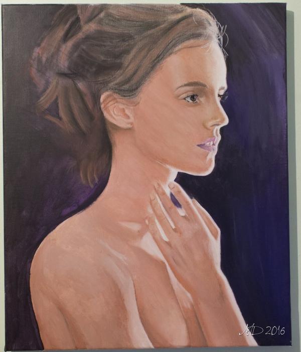 Emma Watson - peinture acrylique et pastel sec sur Toile 38x46 cm