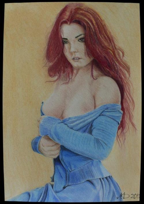 Red head & Blue dress