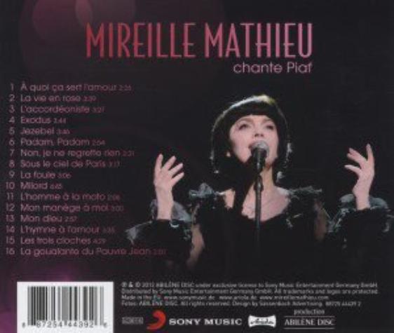 Titelübersicht - Rückseite CD  chante Piaf - ( erscheint bereits am 28.09.2012 )