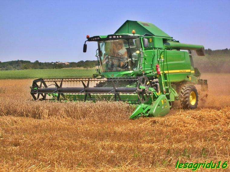 moisson du blé avec 2 john deere W 540