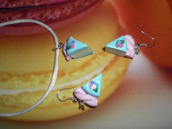 parure collier boucle d'oreille par de gateau